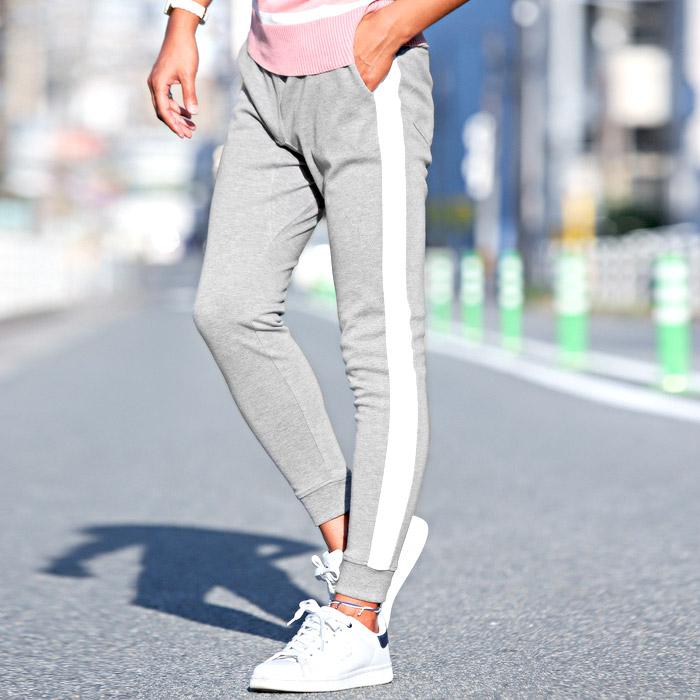 ジョガーパンツ メンズ スウェットパンツ ライン サイドライン スリム イージー 裾リブ BITTER ビター系 ジョガー スウェット スエット パンツ 10
