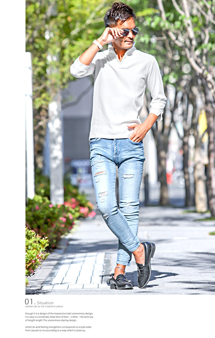 イタリアンカラー ポロシャツ Tシャツ メンズ 7分袖 七分袖 テレコ 無地 ストレッチ 細身 タイト 夏 BITTER ビター系 トップス ポロ POLO シャツ ワイヤー 襟 スキッパー シンプル 大人 2