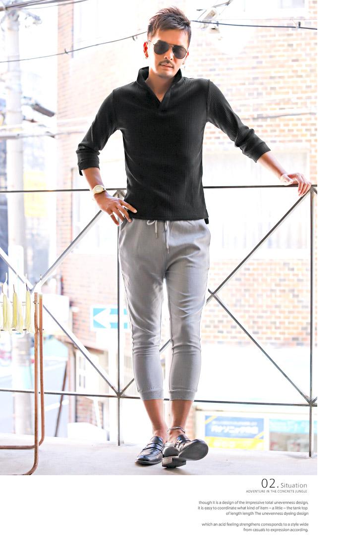 イタリアンカラー ポロシャツ Tシャツ メンズ 7分袖 七分袖 テレコ 無地 ストレッチ 細身 タイト 夏 BITTER ビター系 トップス ポロ POLO シャツ ワイヤー 襟 スキッパー シンプル 大人 6
