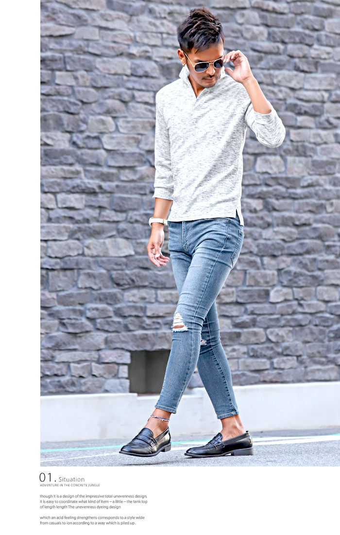 イタリアンカラー ポロシャツ Tシャツ メンズ 7分袖 七分袖 テレコ 無地 ストレッチ 細身 タイト 夏 BITTER ビター系 トップス ポロ POLO シャツ ワイヤー 襟 スキッパー シンプル 大人 8