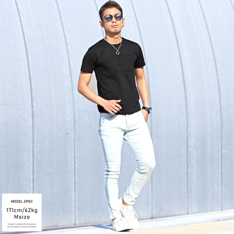 Tシャツ メンズ 半袖 エンボス デボス 加工 カットソー 英字 ロゴ 立体 3D 凹凸 無地 プリントTシャツ ビター系 BITTER サーフ SURF 春 夏 3