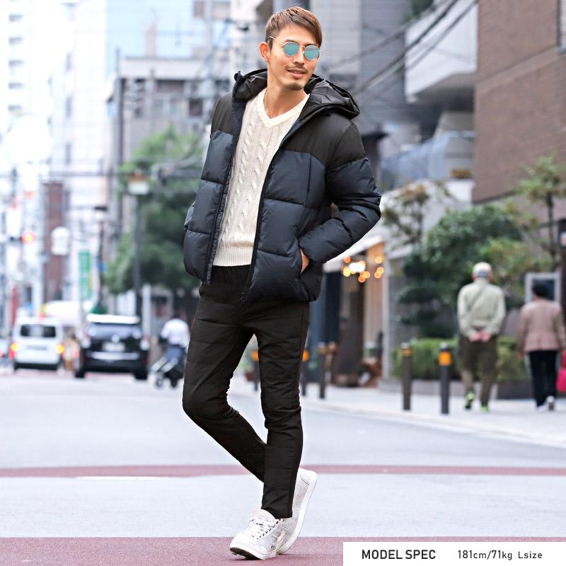 中綿ジャケット ブルゾン カラー 切り替え 冬 ダウンジャケット 配色 アウター フード フードジャケット ボリュームネック 防寒 ファッション BITTER ビター ストリート ラグスタイル pm-7965 4