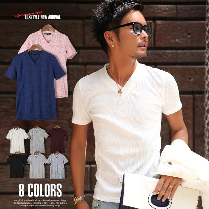 ランダムテレコリブサイド切り替えVネック半袖Tシャツ