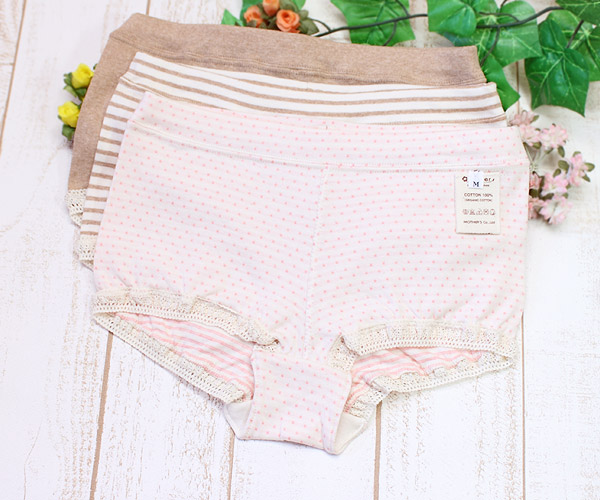 Box panties of the organic cotton for Lady's