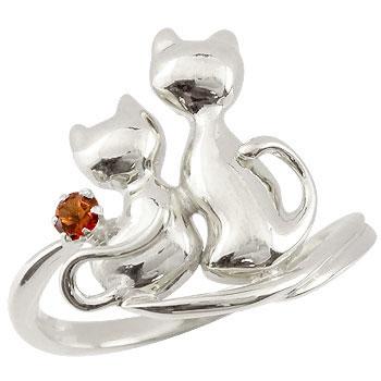 猫 プラチナ リング ガーネット 指輪 1月誕生石