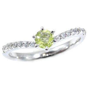 【工房直販】ペリドット:ダイヤモンド0.23ct:ピンキーリング:指輪:ホワイトゴールドK18:K18WG:8月の誕生石ペリドット【送料無料】