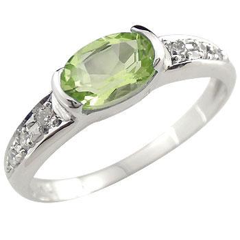 ペリドット リング 指輪 ダイヤモンド ホワイトゴールドk18 8月誕生石
