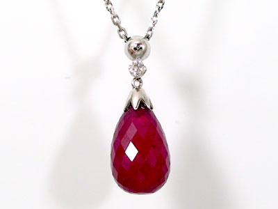 Ma38 rakuten global market ruby necklace diamond briolette materials are genuine with white gold k18 and natural ruby mozeypictures Gallery