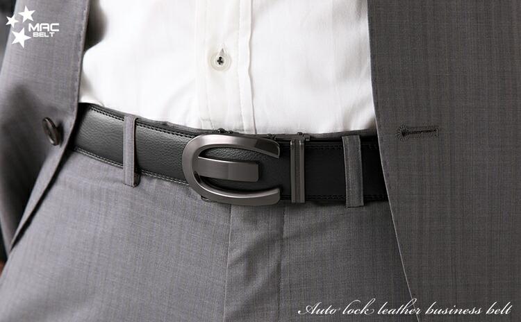 ベルト メンズ 革 MACBELT マックベルト 穴なし スライド式 牛革 ビジネス ベルト メンズ 簡単ウエスト調整 大きいサイズ 送料無料 MBY