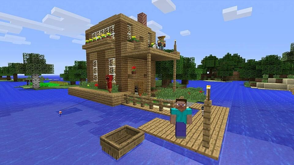 マイクラなら家具も建物も地上絵でも何でも作れる