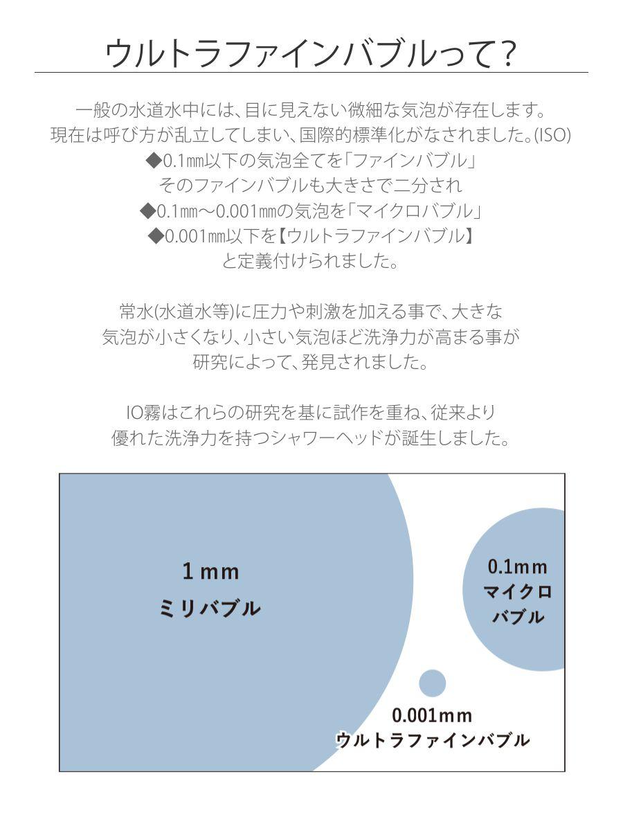 【ウルトラファインバブル】常水(水道水等)に圧力や刺激を加える事で、大きな気泡が小さくなり、小さい気泡ほど洗浄力が高まる事が研究によって、発見されました。