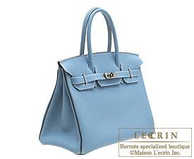 Hermes Birkin bag 30 Blue jean/Blue indigo Togo leather Ruthenium hardware
