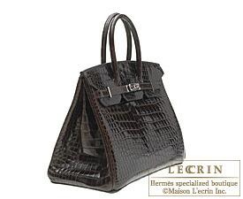 ea1ac55866 ... Hermes Birkin bag 30 Cocaon Dark brown Porosus crocodile skin Silver  hardware