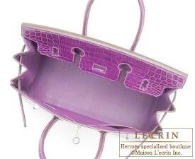 972ea0348a Hermes Birkin bag 25 Violet Niloticus crocodile skin Silver hardware ...