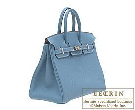 Hermes Birkin bag 25 Blue jean Togo leather Silver hardware