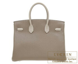 Hermes Birkin bag 35 Etoupe grey/Gris tourterelle Togo leather Mat Silver  hardware