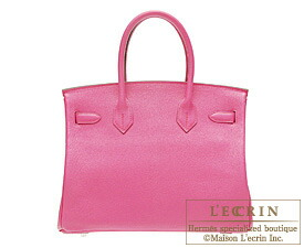Hermes Birkin bag 30 Rose shocking Chevre myzore goatskin Silver hardware