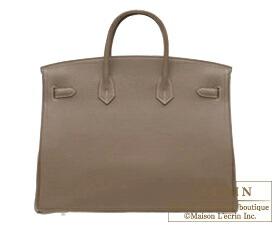 Hermes Birkin bag 40 Etoupe grey Clemence leather Silver hardware