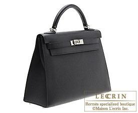 Hermes Kelly bag 32 Black Epsom leather Silver hardware