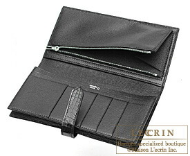 Hermes Bearn Soufflet Black Alligator crocodile skin Silver hardware