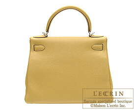 Hermes Kelly bag 28 Curry Clemence leather Silver hardware