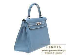 Hermes Kelly bag 28 Blue jean Clemence leather Silver hardware
