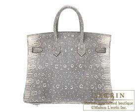 Hermes Birkin bag 25 Ombre Natural lizard skin Silver hardware