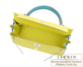 Hermes Kelly bag 28 Lime/Turquoise blue Chevre myzore goatskin Silver hardware