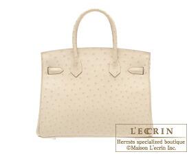 Hermes Birkin bag 30 Parchemin Ostrich leather Silver hardware