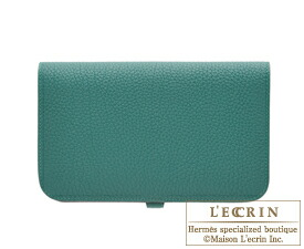 Hermes Dogon GM Malachite Togo leather Matt silver hardware