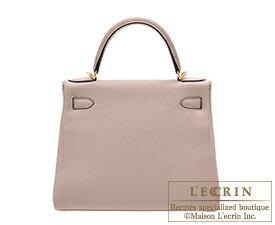 Hermes Kelly bag 28 Retourne Glycine Clemence leather Gold hardware 5a2d09b7c2d44