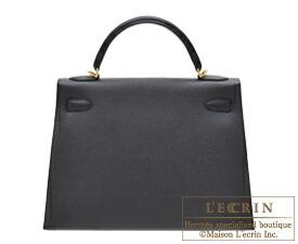 エルメス ケリー32/外縫い ブラック ヴォーエプソン ゴールド金具