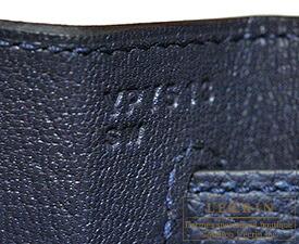 エルメス ケリー32/内縫い ブルーニュイ トゴ シルバー金具