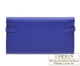 0cd2ba6f861 Hermes Kelly wallet long Blue electric Epsom leather Silver hardware ...