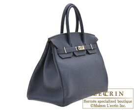 0097d95bcd5c ... Hermes Birkin Verso bag 35 Blue nuit Orange poppy Togo leather Silver  hardware
