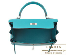 e4788483f472 Hermes Kelly bag 28 Blue paon Clemence leather Silver hardware ...