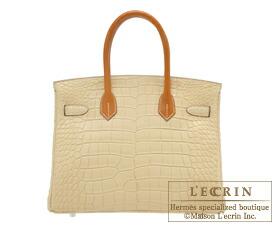 fb86a03d1e86 Hermes Birkin Touch bag 30 Vanille Natural sable Matt alligator crocodile  skin Butler leather .