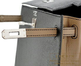 エルメス パーソナルケリー25/外縫い ブラック/エトゥープ ヴォーエプソン シルバー金具