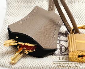 エルメス パーソナルケリー25/外縫い ブラック/エトゥープ ヴォーエプソン ゴールド金具