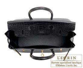 9339613f8d Hermes Birkin Touch bag 25 Black Togo leather Matt alligator crocodile skin  Gold hardware ...