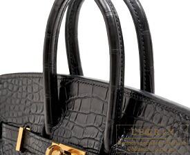 エルメス バーキンタッチ25 ブラック トゴ/クロコダイル アリゲーターマット ゴールド金具