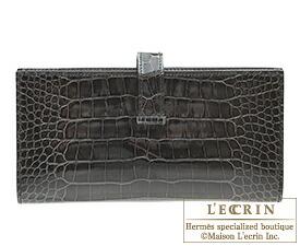エルメス ベアンスフレ グラファイト クロコダイル アリゲーター シルバー金具