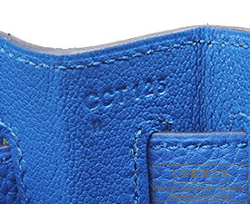 エルメス ケリー32/内縫い ブルーゼリージュ トゴ シルバー金具