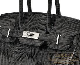 エルメス バーキン30 ブラック リザード シルバー金具