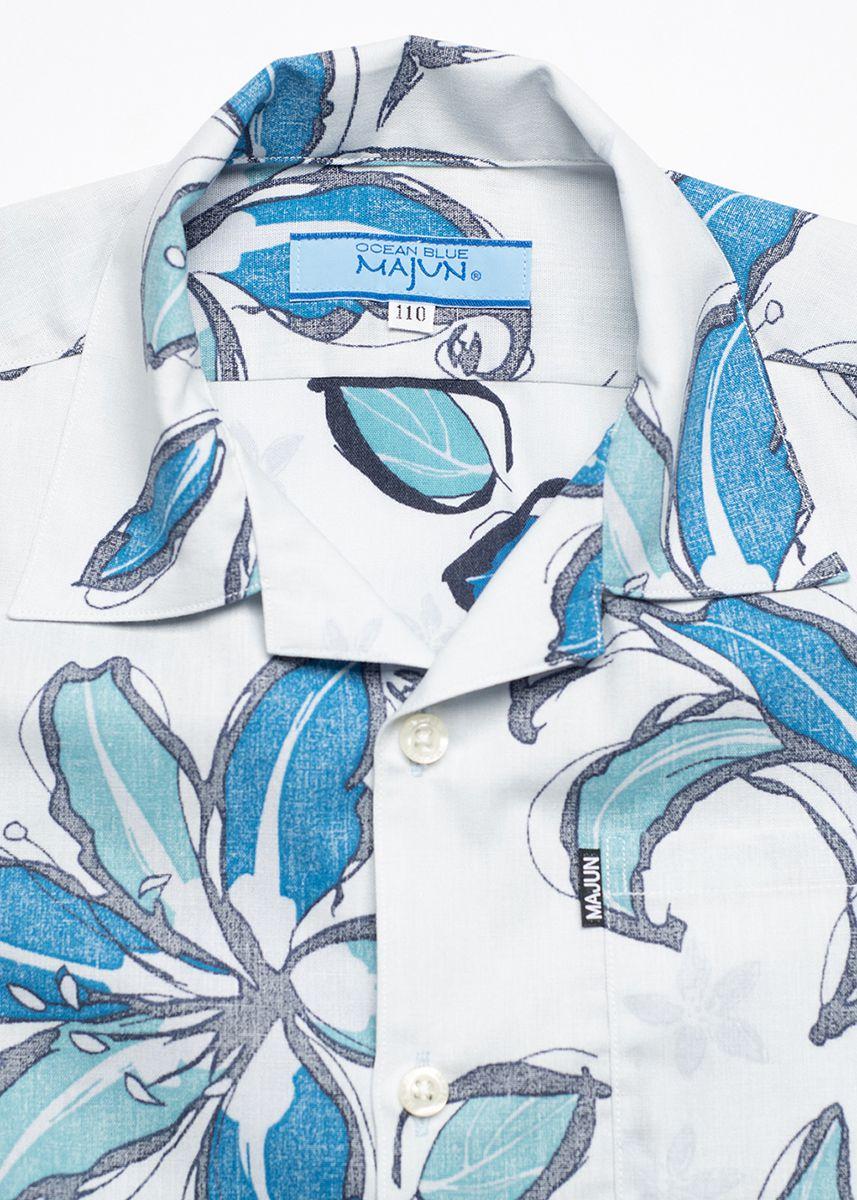 かりゆしウェア アロハシャツ かりゆし 結婚式 MAJUN マジュン ペイントフラワー(キッズシャツ)