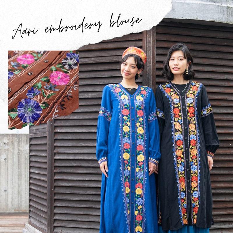 華やかなアリ刺繍が映えるブラウスワンピース