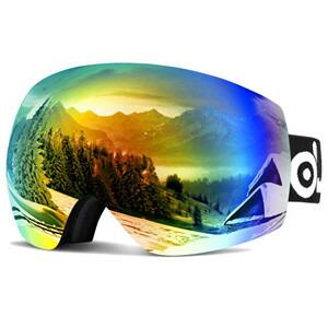 ODOLAND スキーゴーグル 防霧ダブルレンズ(レボオレンジ) UV400 メガネ対応 男女兼用