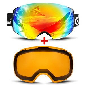 Odoland 球状フレームレススキーゴーグル+交換レンズ S2 OTG UV400 防曇 メガネ対応 レンズ切り替え可 男女兼用