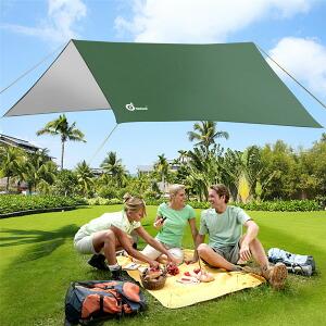 ODOLAND 高品質タープテント タープシェード+タープポール*2 クールシェード 日焼け予防 防水 野営 キャンプ 旅行必需品 軽くてコンパクト 収納バック付き