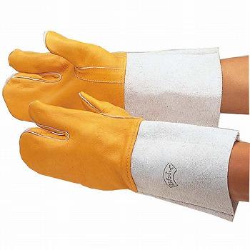 溶接用コンビ3指 革手袋 [120双入] 407 総革製